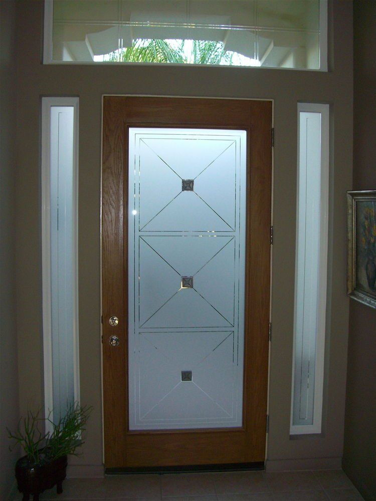 Etched glass entry door windows frosted front doors for Glass door in front of front door