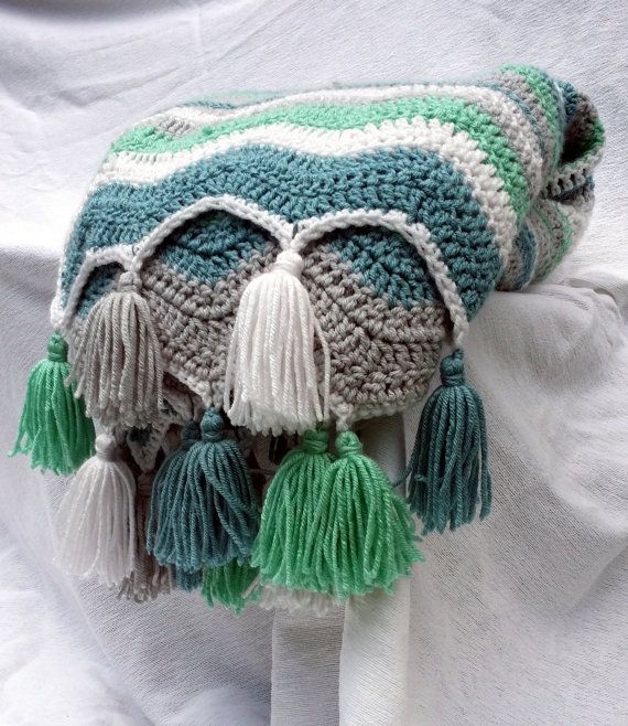 Items similar to Aqua Teal Grey White Chevron Blanket with Tassels ...