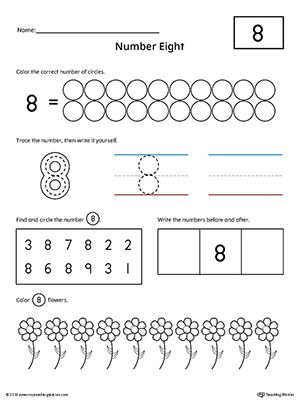 Number 8 Practice Worksheet Writing Numbers Counting Worksheets