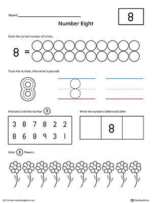Number 8 Practice Worksheet Writing Numbers Counting Worksheets Numbers Preschool
