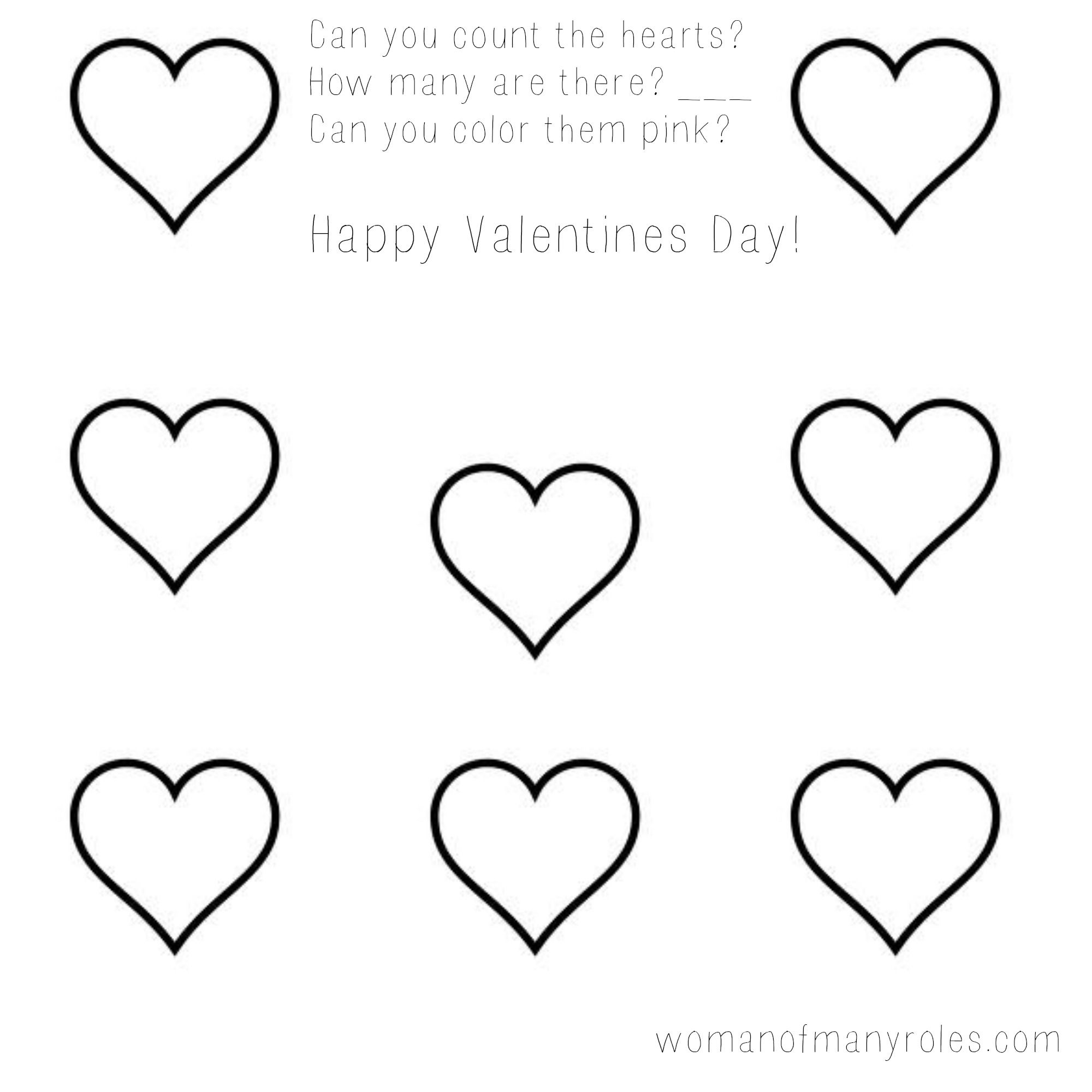 Heart Counting Printable Preschool Worksheet