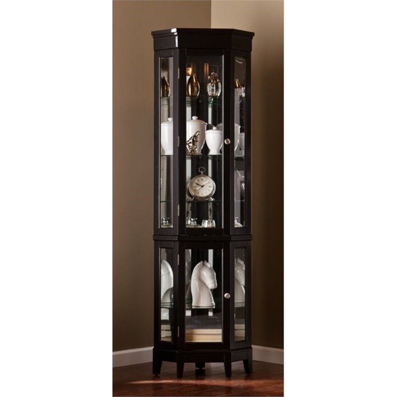 Pemberly Row Corner Curio in Black - PR-627546