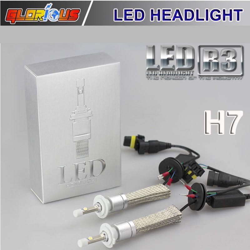 R3 80W 9600LM Car H7 LED Headlight H1 H3 H4 H8 H9 H11 9005 HB3 HB4 ...