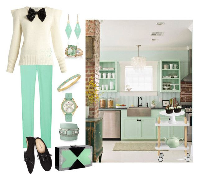 """Mint Condition Kitchen"" by christined1960 ❤ liked on Polyvore featuring Yves Saint Laurent, Rafe, Wet Seal, Mikasa, Price & Kensington, Kate Spade, Michele, Balenciaga, Jamie Wolf and Belk & Co."