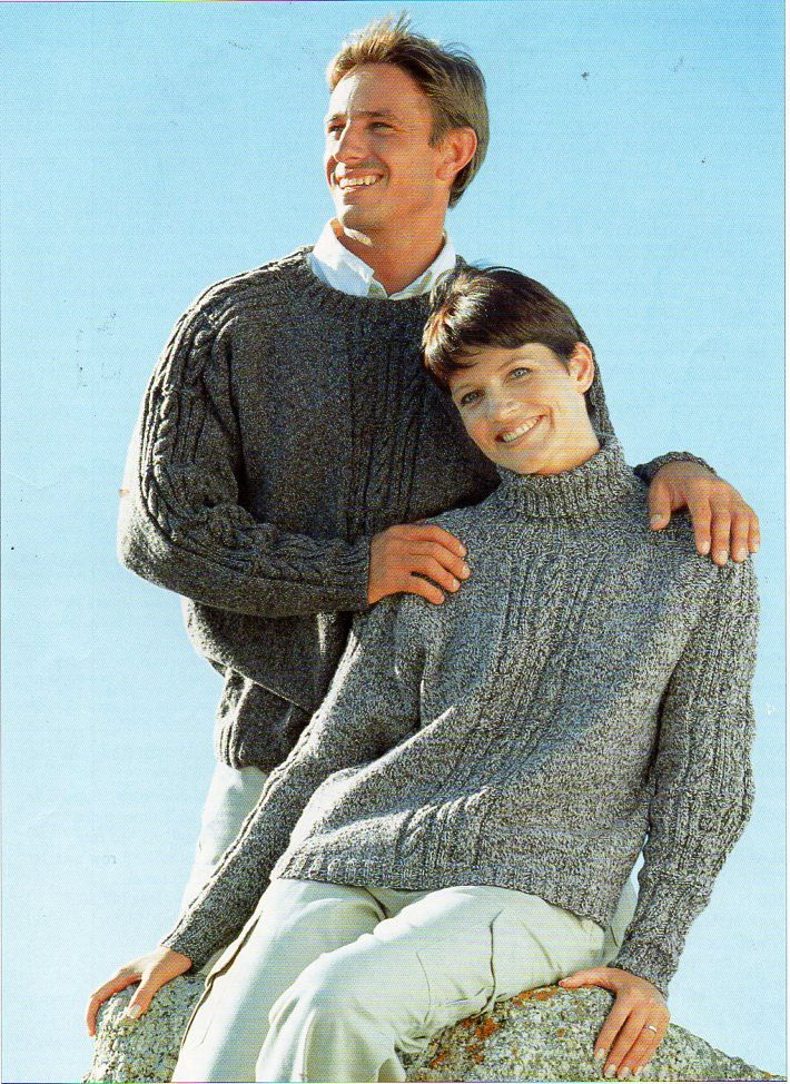 vintage ladies mens cable sweaters unisex knitting pattern pdf DK ...