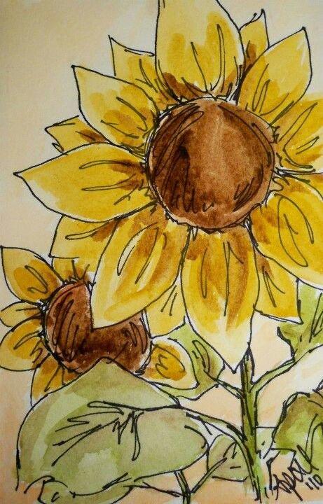 Sunflowers Sunflower Art Sunflower Watercolor Painting