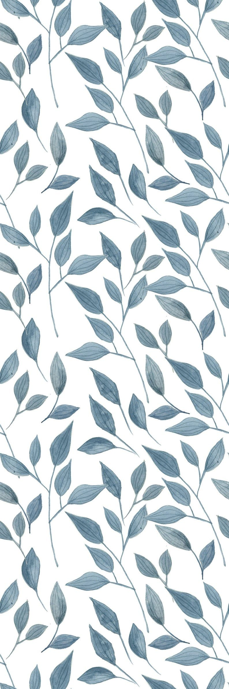 Removable Wallpaper Self Adhesive Wallpaper Handdrawn Blue Leaves Peel & Stick Wallpaper