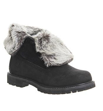Timberland Fur Fold Down Womens Ankle Boots Black Nubuck