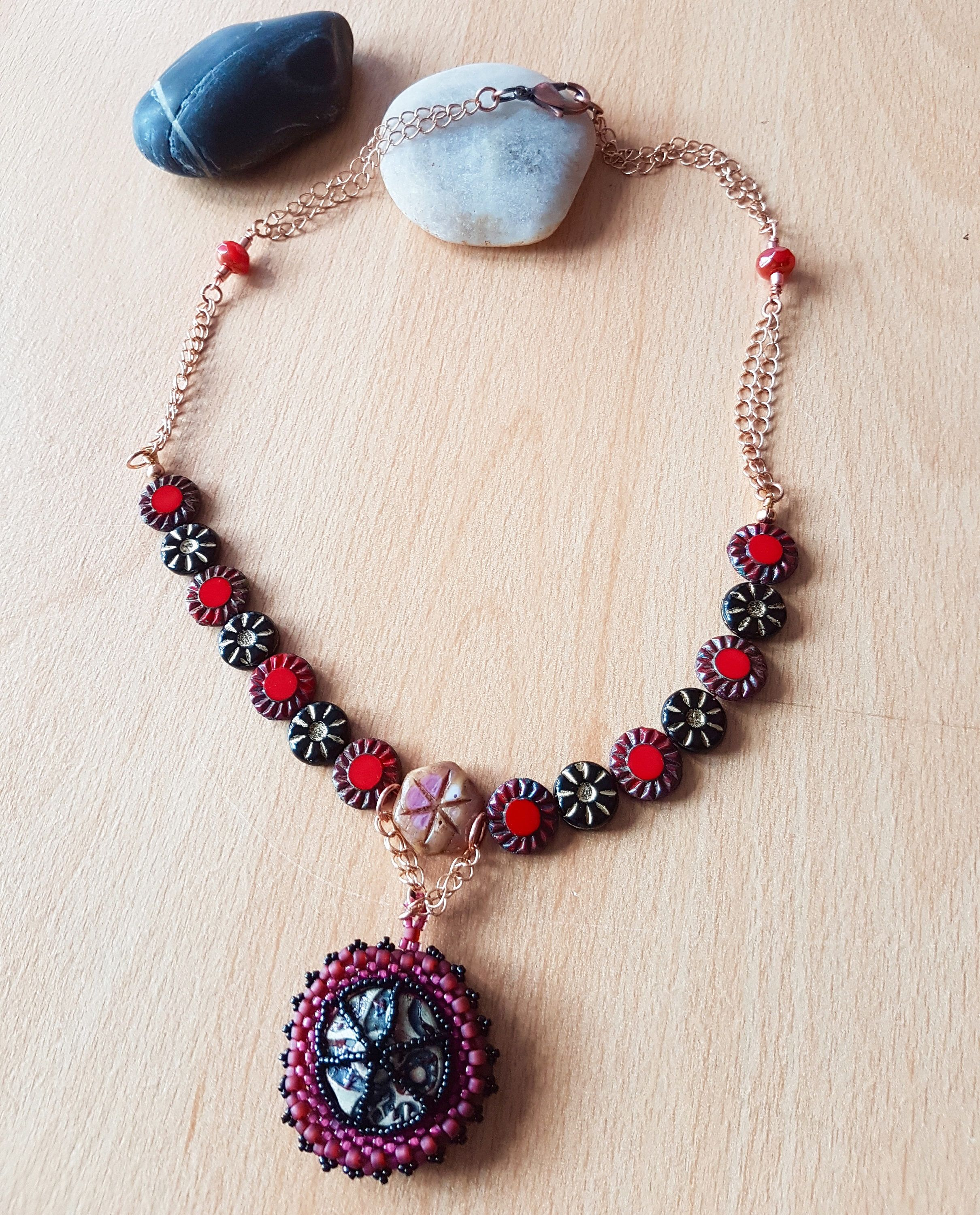 necklace red pendant crystal vaults jasper