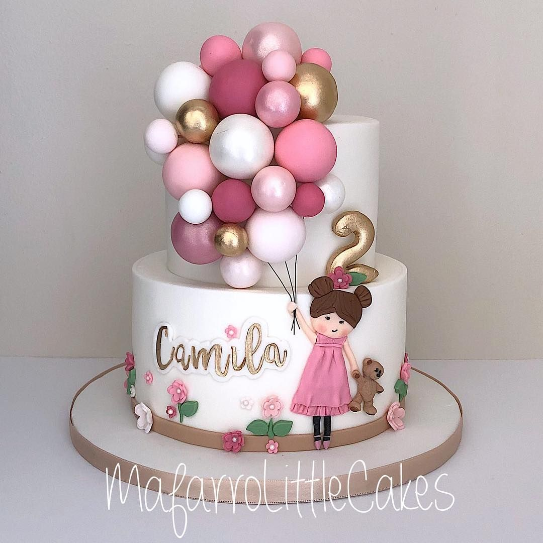 Mafe Falla On Instagram Balloons Girl Cake Happy 2th Bday Beautiful Camila Cake Bak Baby Girl Birthday Cake Baby Birthday Cakes Birthday Cake Girls