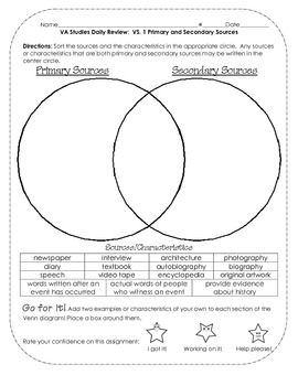 Worksheets Primary Vs Secondary Sources Worksheet primary vs secondary sources pinterest virginia studies review activities 1 primarysecondary
