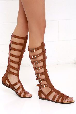 33808952a59 Madden Girl Penna Cognac Tall Gladiator Sandals at Lulus.com!
