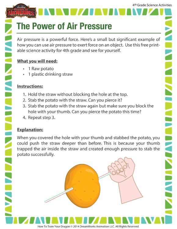 The Power Of Air Pressure Printable Science Activity For
