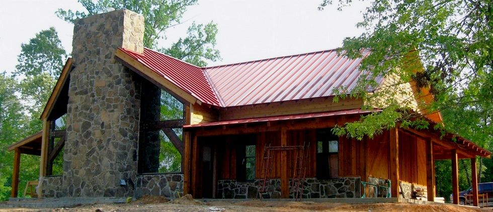 Rock siding with red metal roof house pinterest Cabins with metal roofs