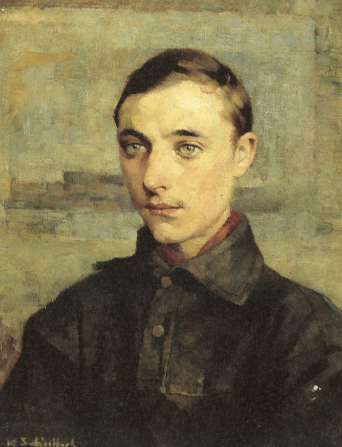 """Helene Schjerfbeck (1862–1946) - """"youth sketch for death of wilhelm von scwerin"""" 1885, oil on canvas, 57 x 44."""
