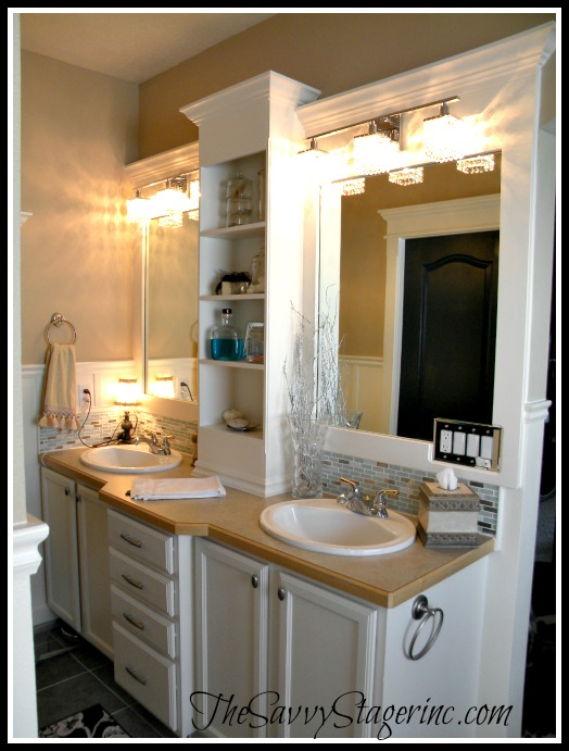 Frame And Add A Shelf To A Builder Grade Mirror Bathroom Mirror With Shelf Bathroom Makeover Large Bathroom Mirrors