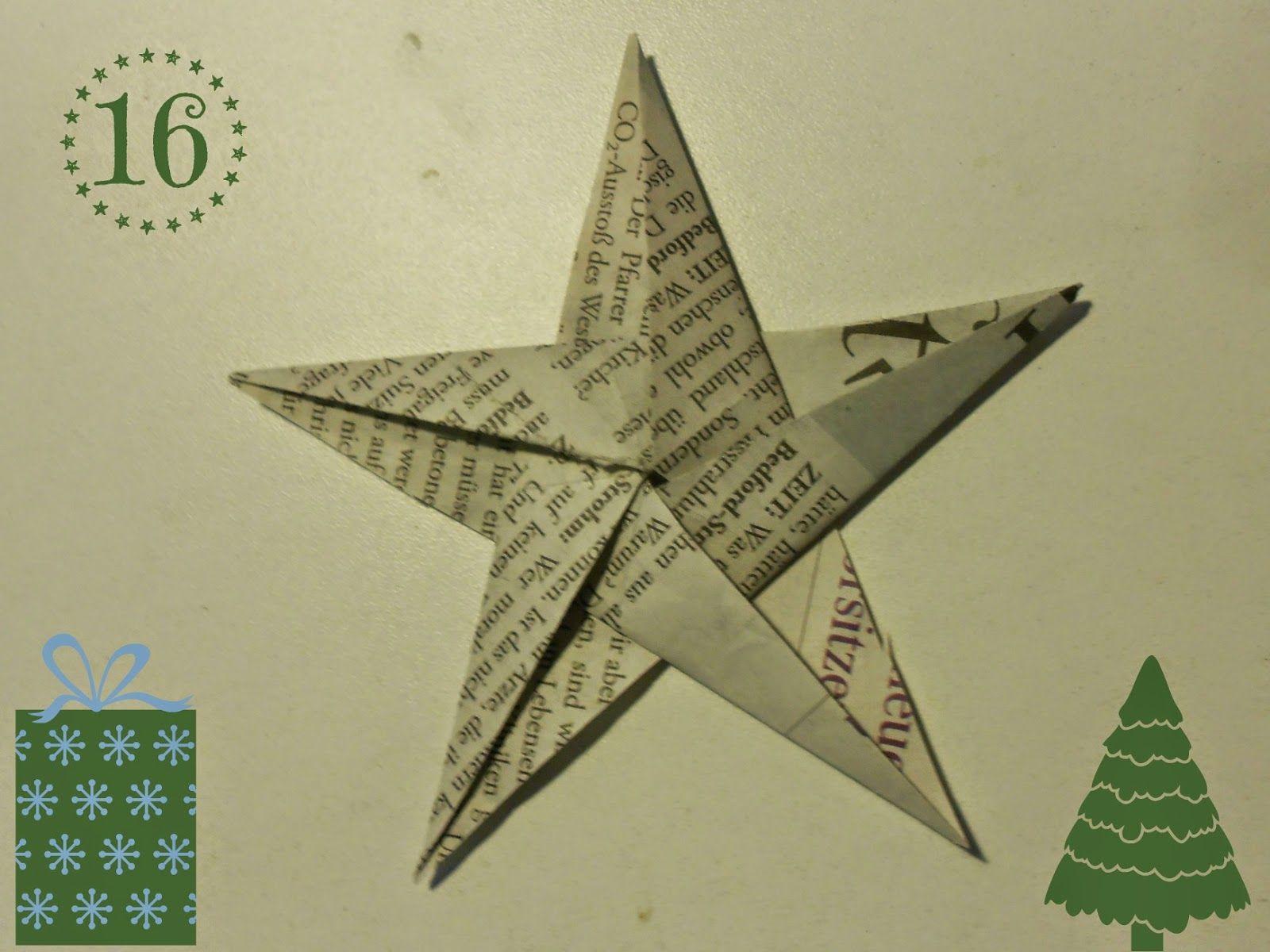 diy weihnachtliche origami sterne aus zeitungspapier weihnachten. Black Bedroom Furniture Sets. Home Design Ideas