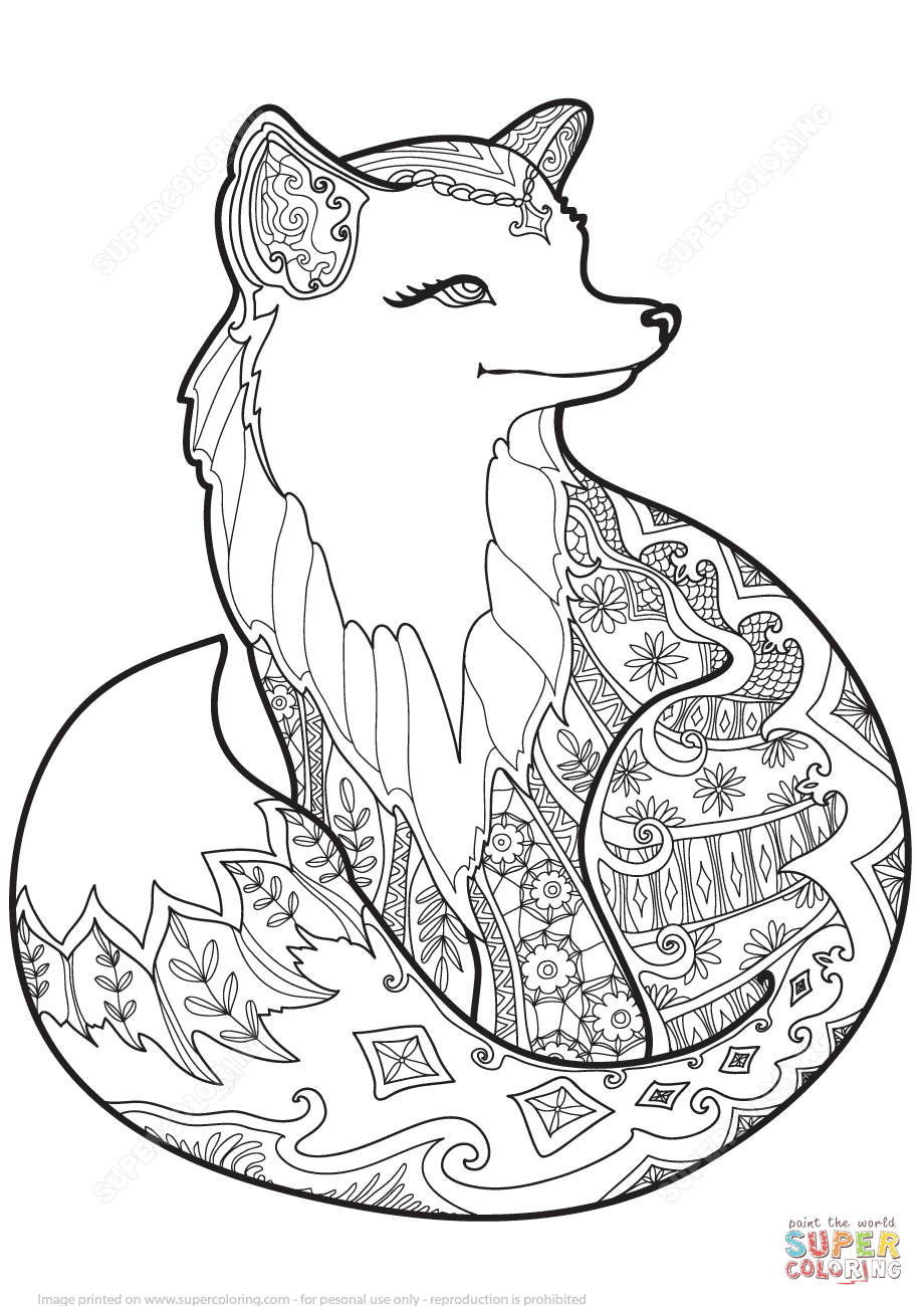 Zentangle Fox Coloring Page 920×1 300 Pixels Fox Mascot