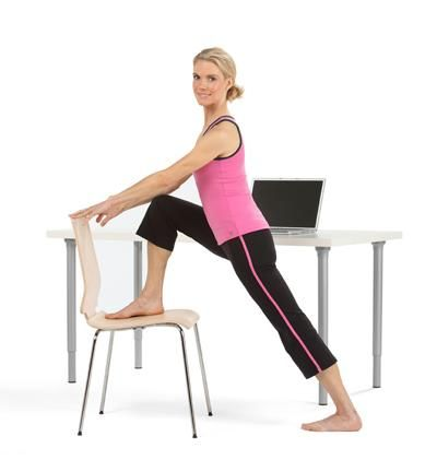 office yoga  workingmother lunging forward bring