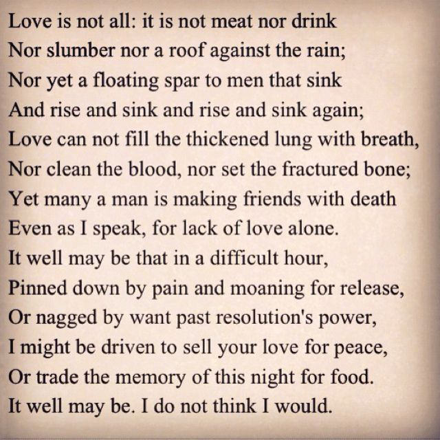 love is not all edna st vincent millay analysis