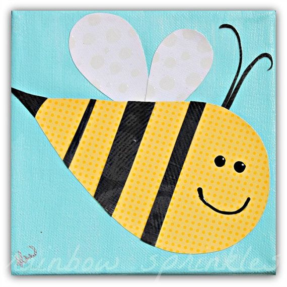 Children\'s Wall Art Print 8x8 bumble bee by loverainbowsprinkles ...