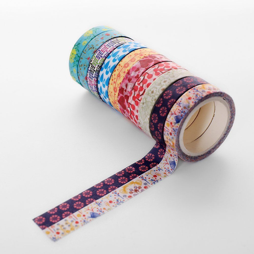 5 Rolls  Washi Tape for Bullet Journalling and Crafts Geometric Colourful