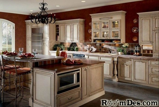 Antique White Cabinets With Red Walls ~ Meadowsweet Kitchens