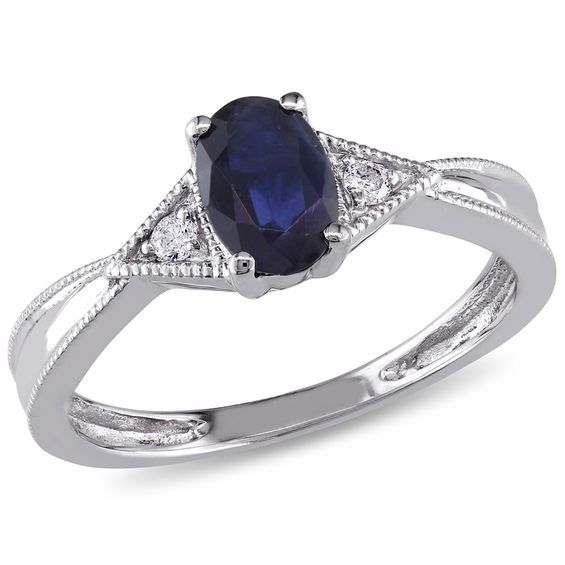 Oval Blue Sapphire And Diamond Accent Triangle Sides Vintage Style Ring In 10k White Gold Vintage Style Rings Blue Sapphire Rings White Gold Diamonds