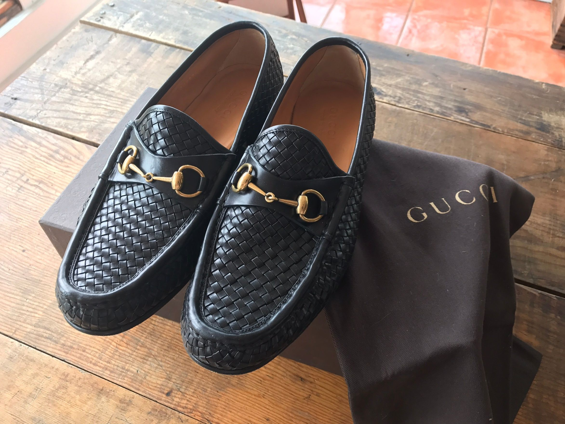 4b5b7159e Gucci Classic Gucci loafers With Traditional Horsbit Black Woven Size US 9.5    EU 42-43
