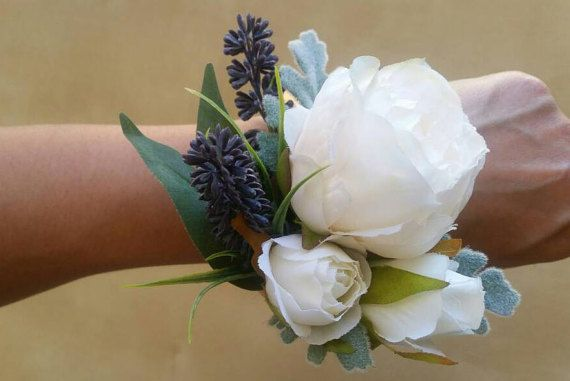 IVORY PEONY Wedding Hand Corsage made with by AdelaideFlowerMill