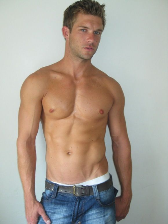 Messy blond hunk with ideal body