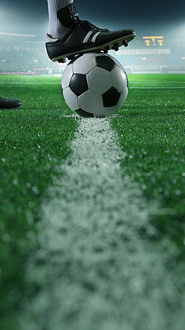 Playing Football On Green Grass Background Element