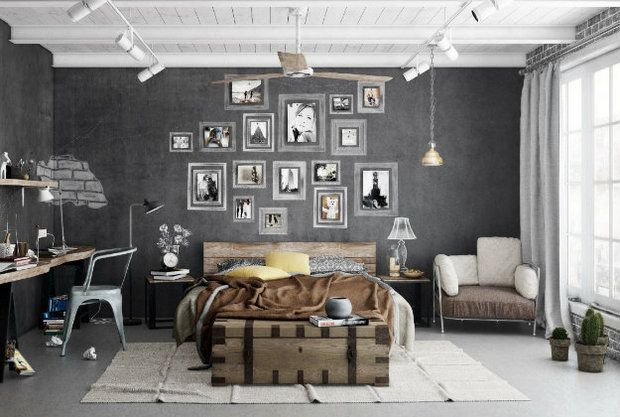 ... Relaxing industrial bedroom with contemporary appeal [Design: Emerick  Architects]