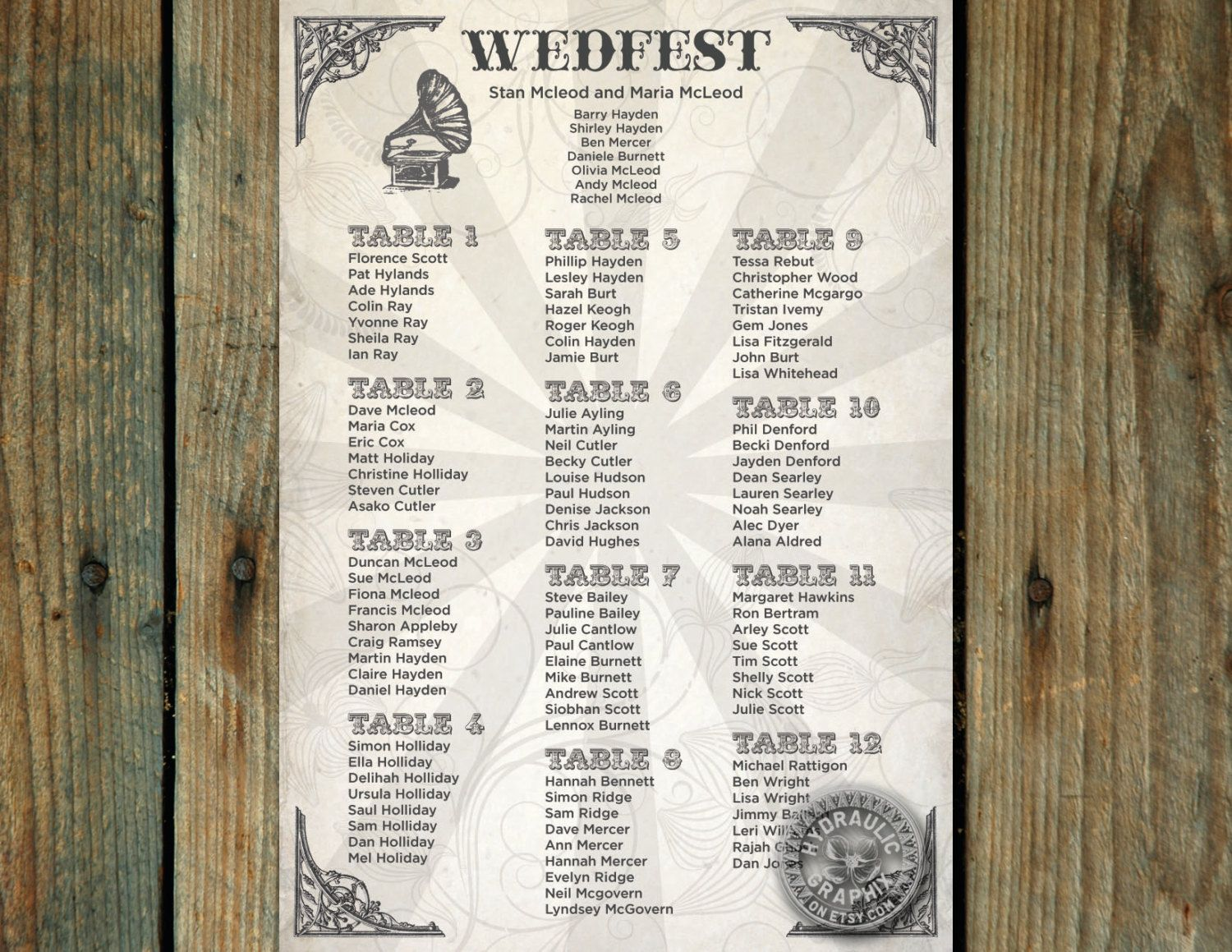 Wedding Seating Chart For Music Theme Wedding Wedfest Table Plan