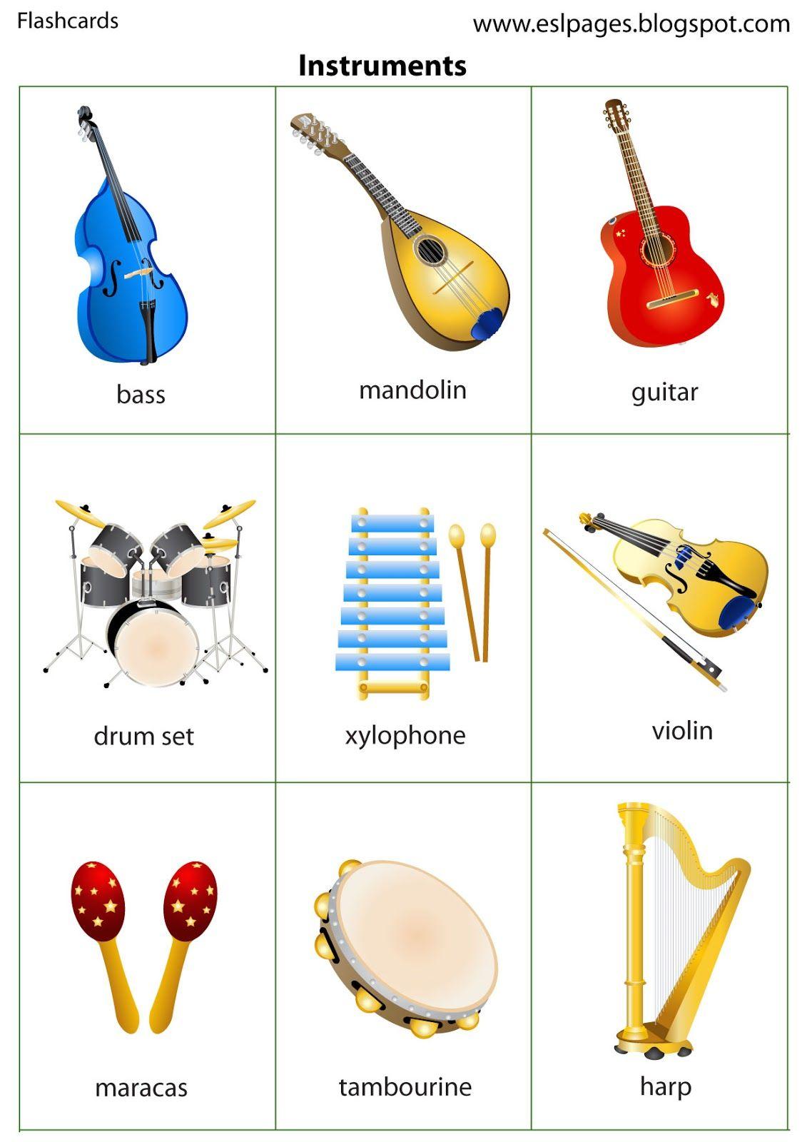 esl pages instruments  educação musical atividades de