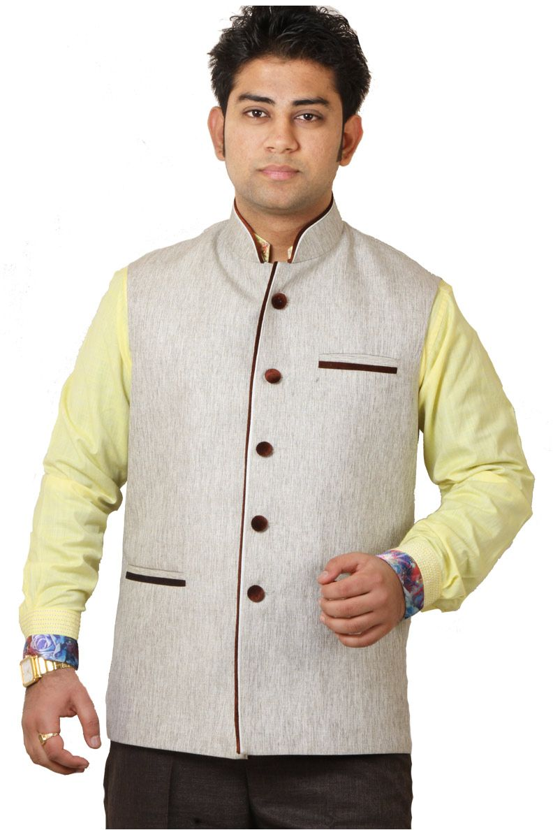 Buy GetAbhi Cream Jute Modi Jacket For Men Online in India | Modi ...