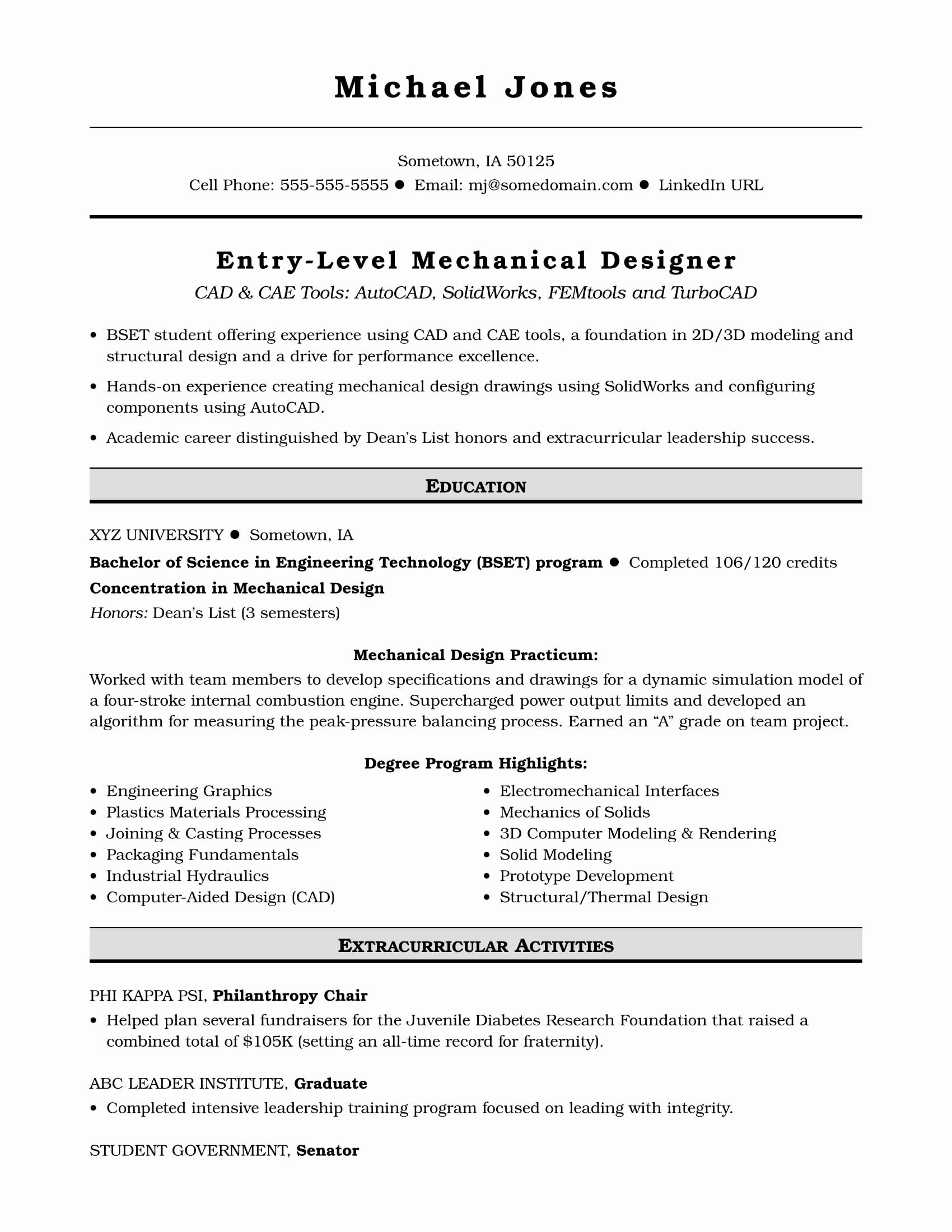 Entry Level Software Developer Resume New Sample Resume For An Entry Level Mechanical Designer