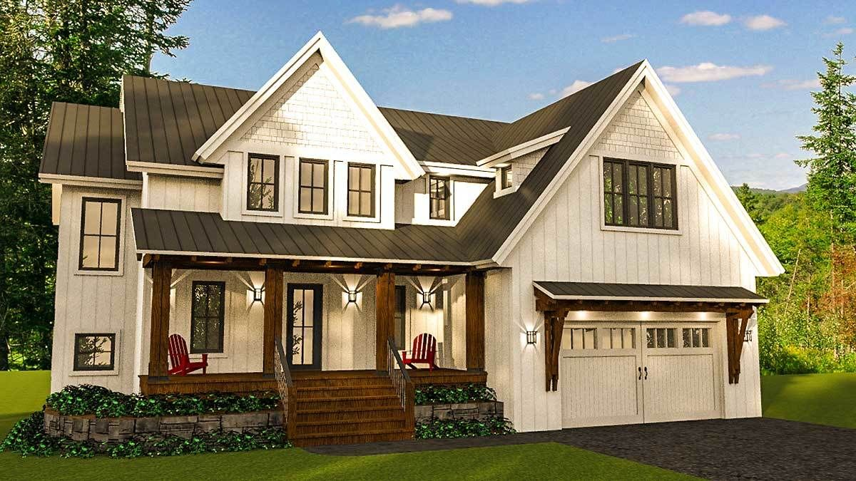 Plan 14654rk Modern Farmhouse With Optional Finished Lower Level Modern Farmhouse Design House Plans Architectural Design House Plans