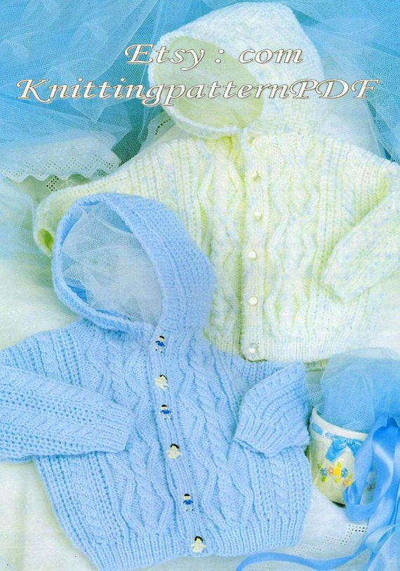 Instant PDF Digital Download Vintage Knitting Pattern to make Hooded Jacket for Baby.PDF Knitting Pattern # 936
