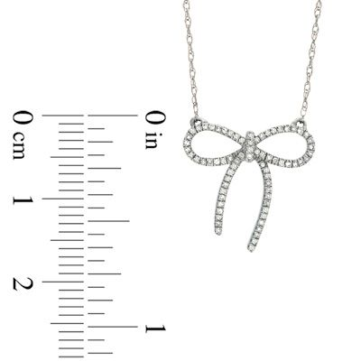 1/10 CT. T.W. Diamond Bow Necklace in Sterling Silver - Save on Select Styles - Zales