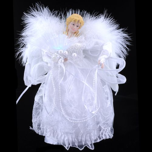 "Silver Gown /& LED Fiber Optics UL1071 12/"" Lighted Angel Tree Topper w White"