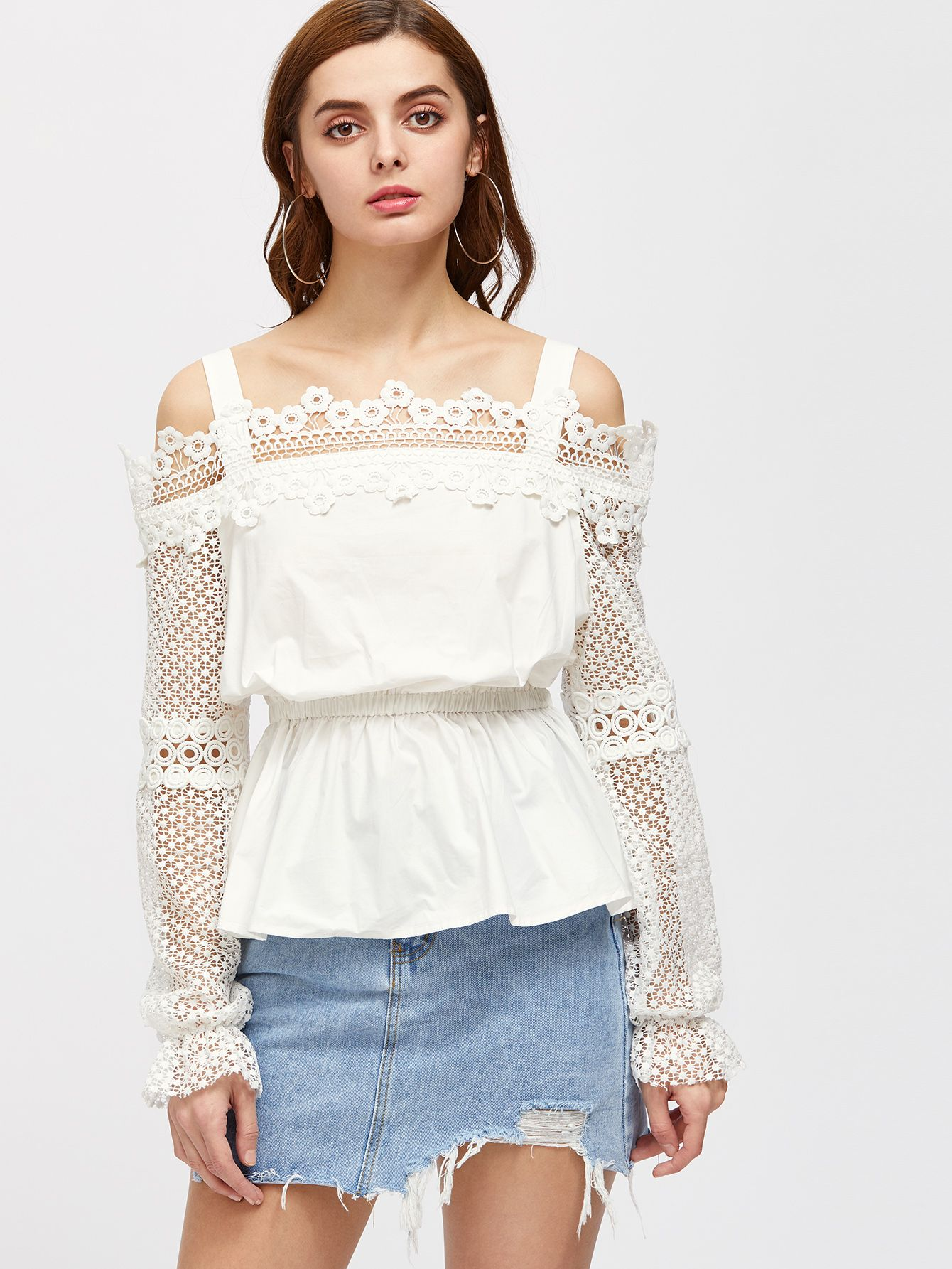 9d943af230097 Cold Shoulder Lace Sleeve Peplum Top -SheIn(Sheinside) | Virtual ...