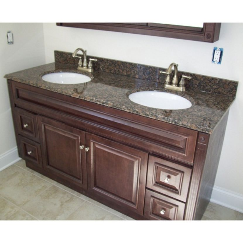 This Ready To Emble Heritage Cherry Vanity Cabinet Base With Satin Nickel Hardware And Baltic Brown