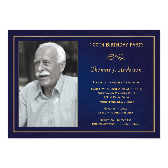 100th Birthday Party Invitations With Photo Bday Party Birthday