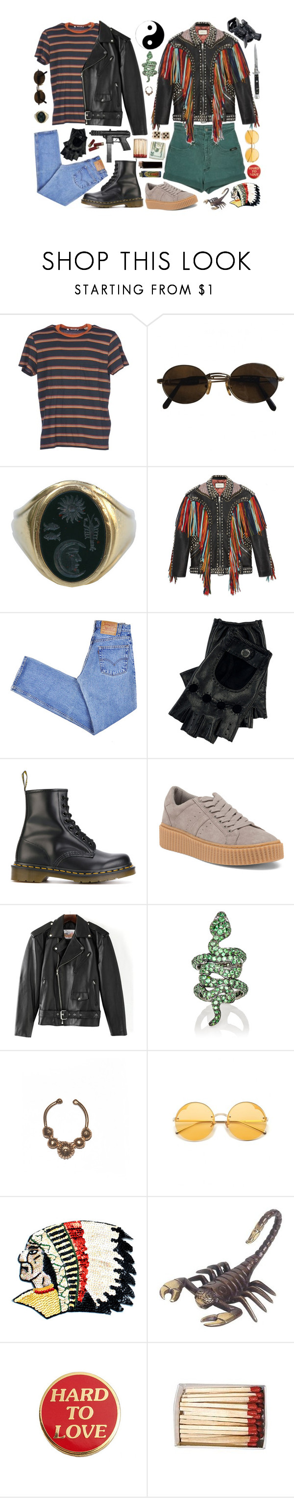 """""""mickey and mallory knox (NBK)"""" by trashbud ❤ liked on Polyvore featuring Levi's, Moschino, Kieselstein-Cord, Gucci, Dr. Martens, Excelled, Sidney Garber, Switchblade Stiletto, Panasonic and NOVICA"""