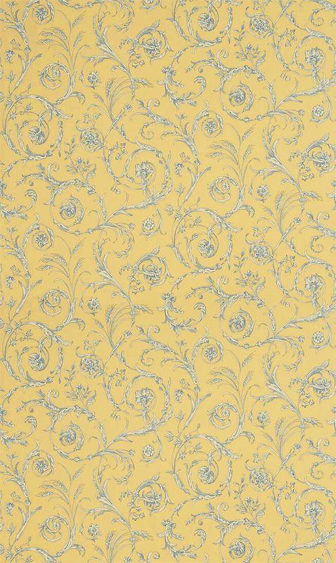 Scroll Co-ordinate Lemon/ Blue/ Alabaster från Sanderson - Tapetorama