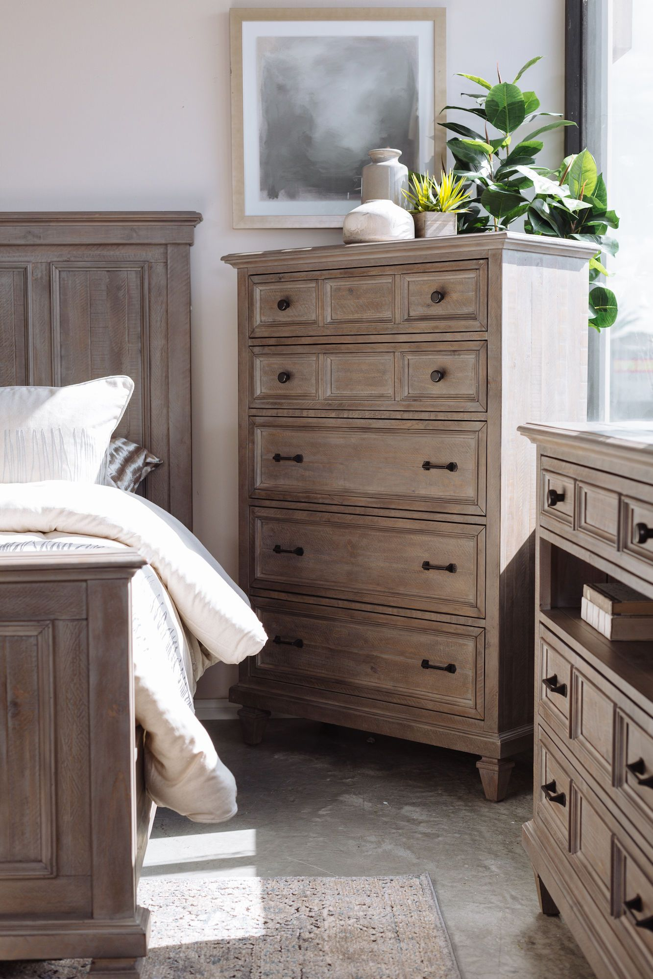 58 Transitional Five Drawer Chest In Brown Furniture Bedroom