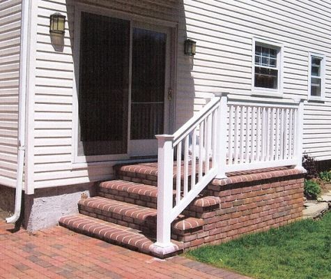 Another Idea Brick Veneer On The Existing Concrete Stoop Wood Railing Around Brick Steps Porch Design Craftsman Porch