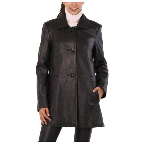 Rakuten.com - BGSD Women's Three Quarter New Zealand Lambskin Leather A-Line Coat