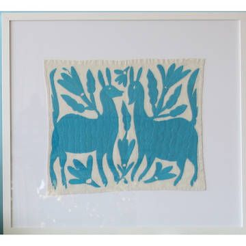Otomi Art Turquoise - beautiful embroideries handmade by indigenous Mexican Indians
